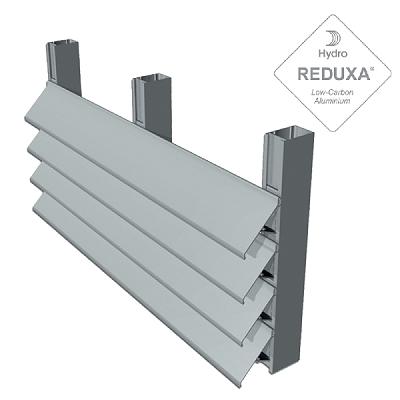 sección celosia horizontal en aluminio para la proteccion solar