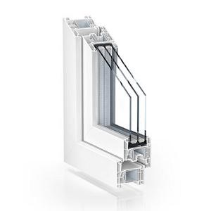 sección ventana practicable pvc serie doble junta 76 mm con triple acristalamiento