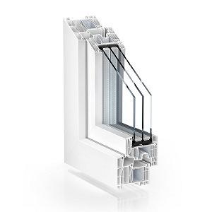 sección ventana practicable pvc serie doble junta 88 mm con triple acristalamiento
