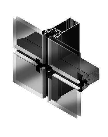 sección muro cortina Geode encolado en aluminio y vidrio