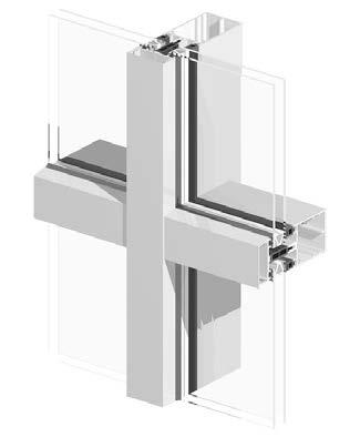 sección muro cortina Geode tradiccional en aluminio y vidrio