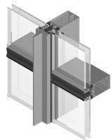 sección muro cortina Geode vertical en aluminio y vidrio