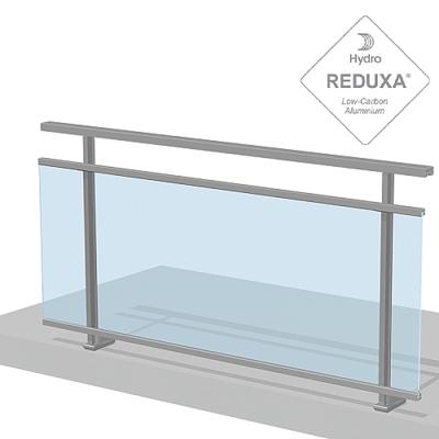 dibujo de barandilla aluminio y vidrio Gypse con anclaje simple