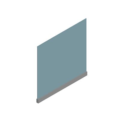 mampara protectora perfil inferior y vidrio pequeña fabricada por sicalum