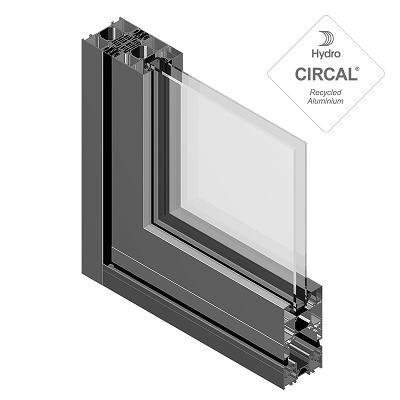 sección puerta aluminio replegable ambial con vidrio