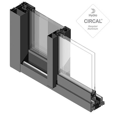 sección de ventana corredera de aluminio lumeal con vidrio