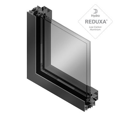 Sección de ventanas aluminio soleal oculta y vidrio