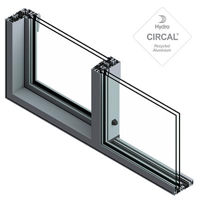 sección de ventana practicable deslizante en aluminio verde oscuro y vidrio transparente