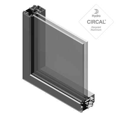 Sección de ventanas aluminio practicables unicity oculta y vidrio