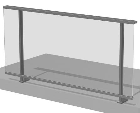 Barandilla de aluminio con vidrio y pasamanos