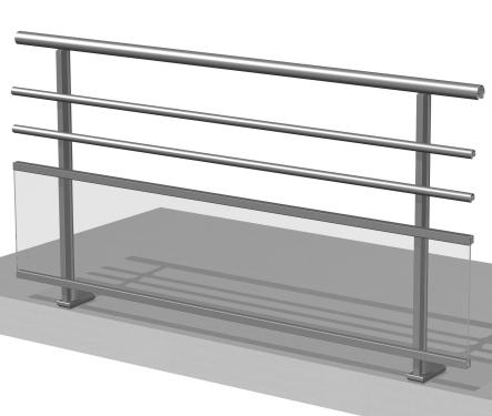 Barandilla de aluminio con barrotes horizontales y vidrio con pasamanos